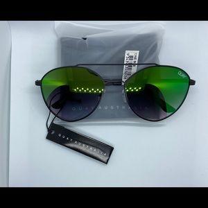 Quay Australia Accessories - Quay Dragonfly Aviator Sunnies Black/Green